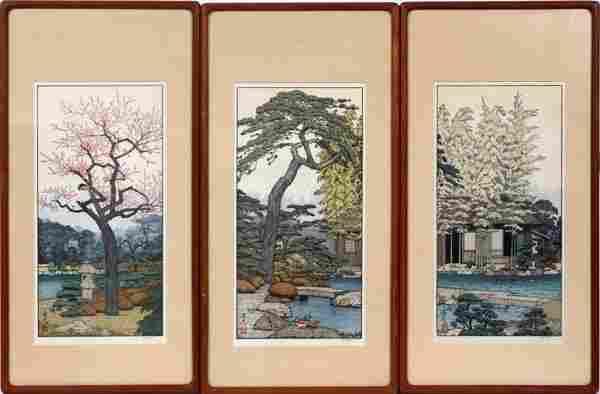 TOSHI YOSHIDA WOOD BLOCK PRINTS. C.1980 THREE