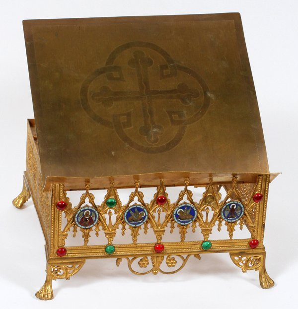 VINTAGE ENAMELED & JEWELED BRASS BIBLE STAND