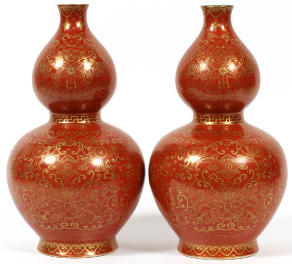 CHINESE STACKED GOURD PORCELAIN VASES PAIR