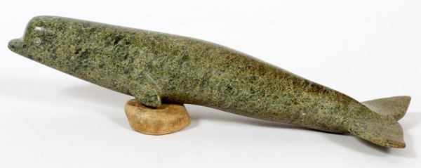 INUIT GREEN MOTTLED STONE FIGURE OF WHALE