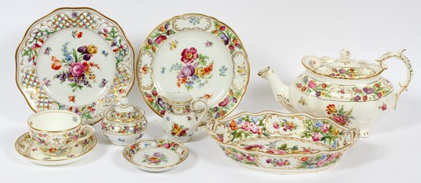 DRESDEN & STAFFORDSHIRE DISHES 15 PIECES