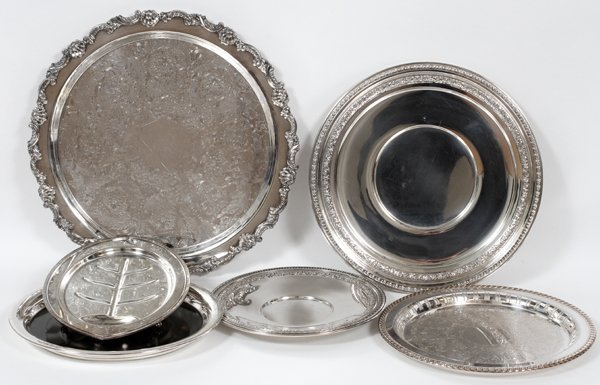 SILVERPLATE SERVING TRAYS, SIX