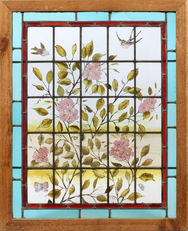 STAINED & LEADED GLASS WINDOW LATE 19TH C.