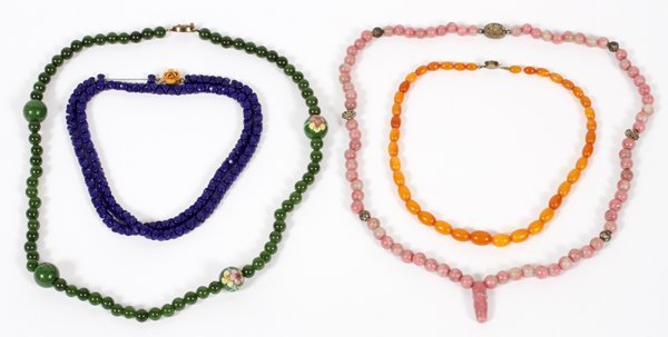 CHINESE JADE, QUARTZ & BALTIC AMBER BEAD NECKLACES
