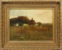 CHARLES EDWIN LEWIS GREEN OIL ON CANVAS