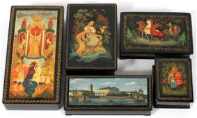 RUSSIAN LACQUERED BOXES GROUP OF FIVE