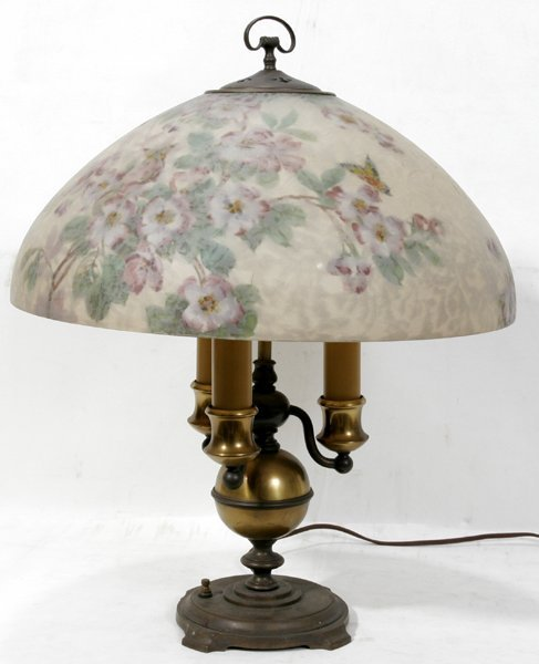 040001: HANDEL ART GLASS REVERSE PAINTED LAMP SHADE