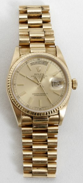 040002: ROLEX GOLD OYSTER PERPETUAL DAY-DATE WATCH