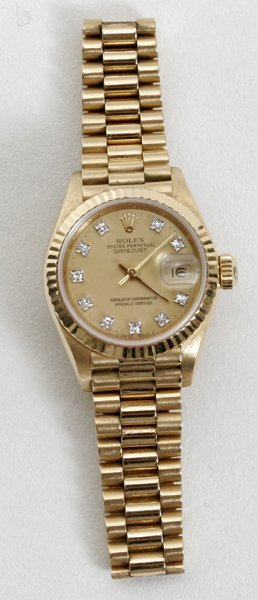 040003: ROLEX GOLD OYSTER PERPETUAL DATE LADY'S WATCH