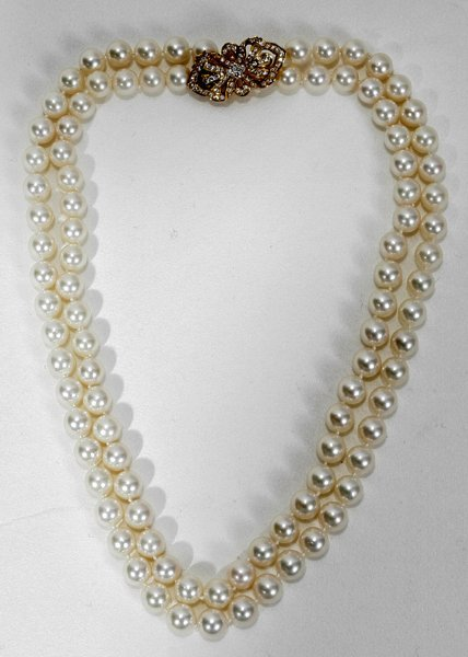 """040004: 8-8.5MM PEARL, DIAMOND & GOLD NECKLACE, L 34"""""""