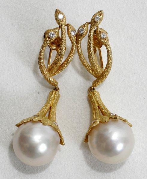 040005: GOLD, 13MM SOUTH SEA PEARL & DIAMOND EARRINGS