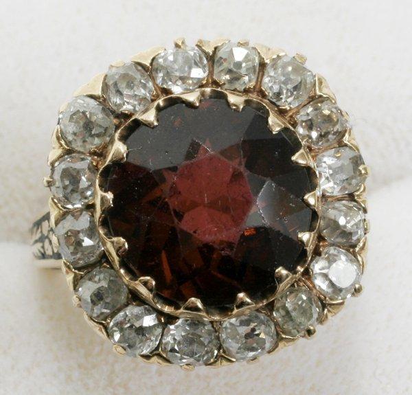 040008: GOLD, 6.5CT TOURMALINE & MINE CUT DIAMOND RING