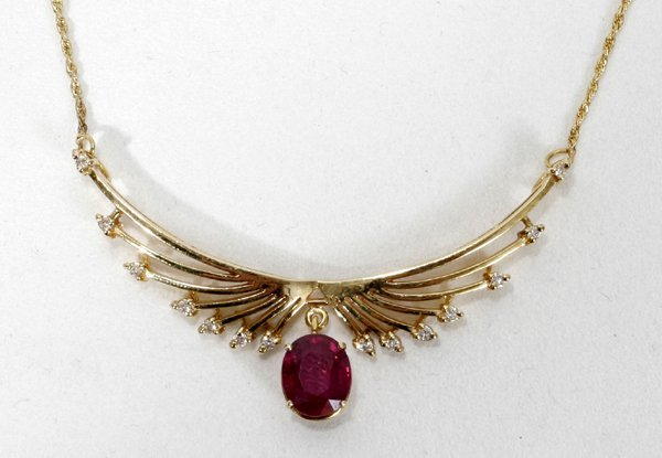 """040013: 4.5CT RUBY, .3CT DIAMOND & GOLD NECKLACE, 20"""""""