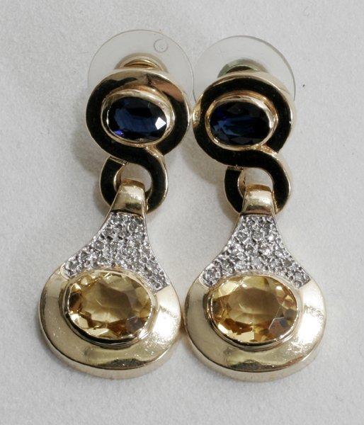 040014: GOLD, SAPPHIRE, DIAMOND & CITRINE EARRINGS
