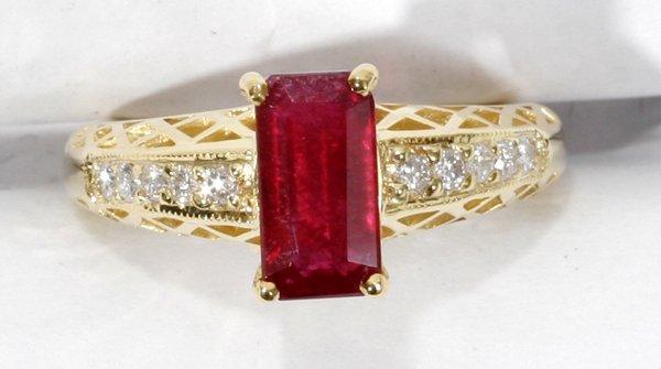 040015: 1.6CT RUBY, DIAMOND & 14 KT GOLD FILIGREE RING