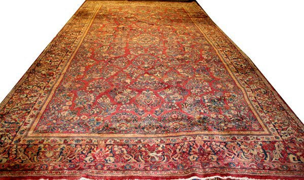 "040016: ANTIQUE PERSIAN SAROUK WOOL CARPET 10' 5""x20'"