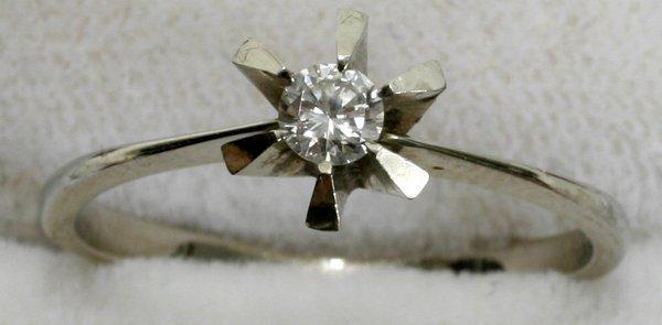 040212: CUT .4CT DIAMOND &18K GOLD RING, HALLMARK 750