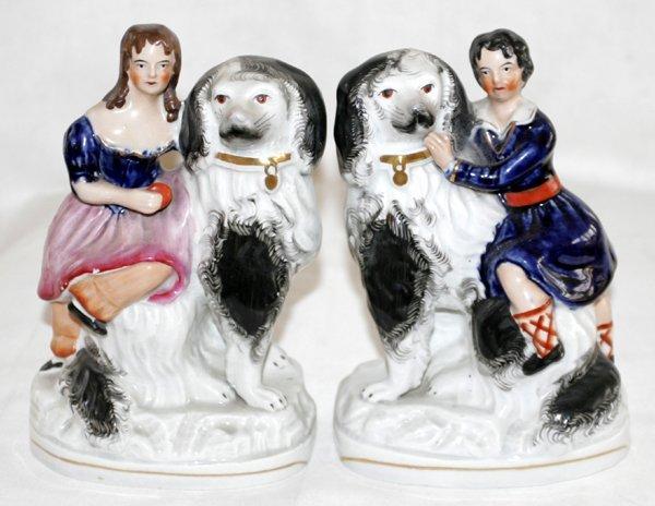 041004: STAFFORDSHIRE GIRLS W/ SPANIELS, C. 1850