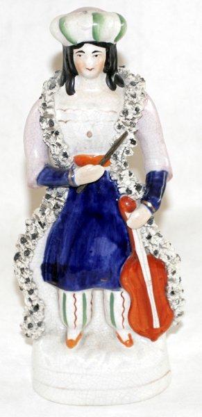 """041016: STAFFORDSHIRE LADY W/ CELLO, C. 1850, H 8.5"""""""