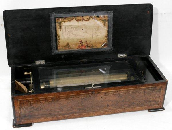 041022: SWISS ROSEWOOD CYLINDER MUSIC BOX, 19TH C.