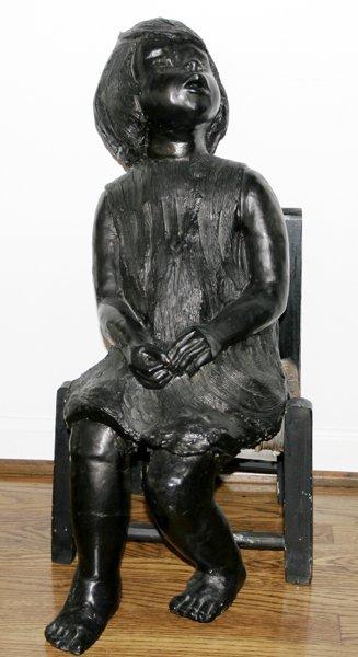 041024: BLACK TERRACOTTA SCULPTURE, GIRL ON CHAIR