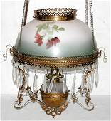 041234 VICTORIAN HANGING LAMP W GLASS SHADE C 1870
