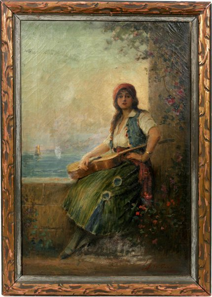 042003: JOSEPH W. GIES OIL ON CANVAS, LADY BY WALL