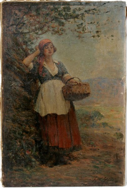 042004: JOSEPH W. GIES OIL ON CANVAS, WOMAN W/ BASKET