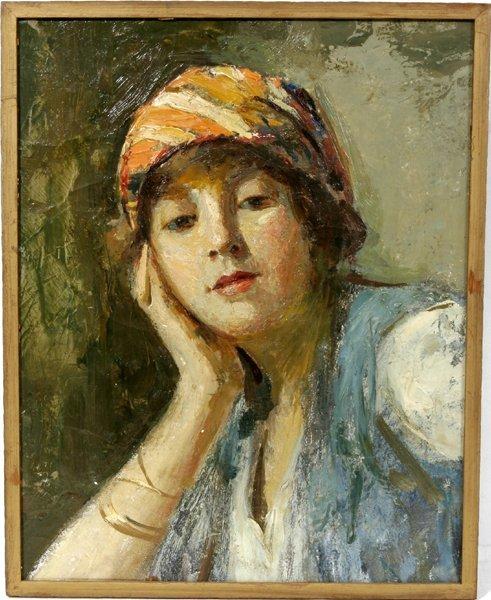 042005: JOSEPH W. GIES OIL ON CANVAS, A WOMAN