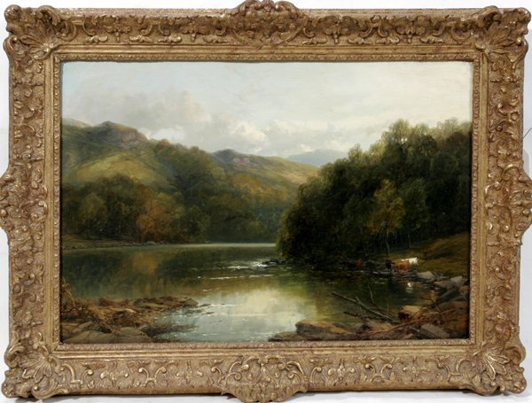 042008: JAMES B. SMITH OIL ON CANVAS, RIVER W/ CATTLE