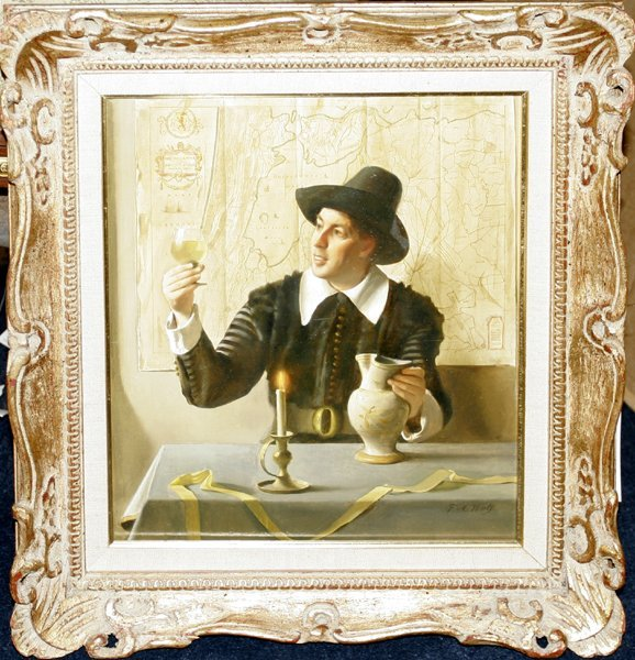 042009: FRANZ XAVIER WOLF OIL ON PANEL, TASTING WINE