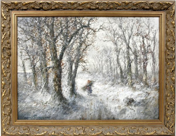 042012: HUGO ANTON FISHER WATERCOLOR, WINTERY FOREST