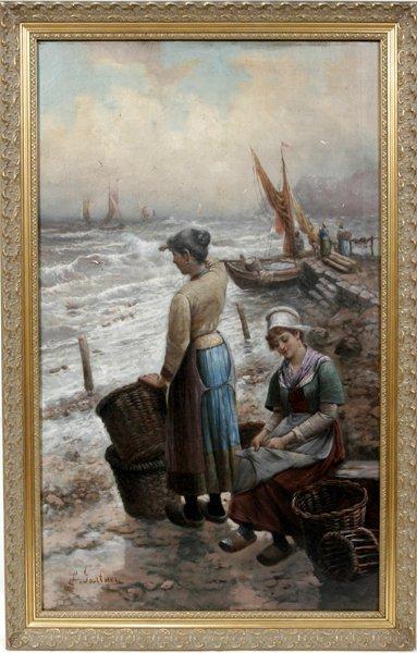 042014: L. GURTNER OIL ON CANVAS, WOMEN BY THE SHORE