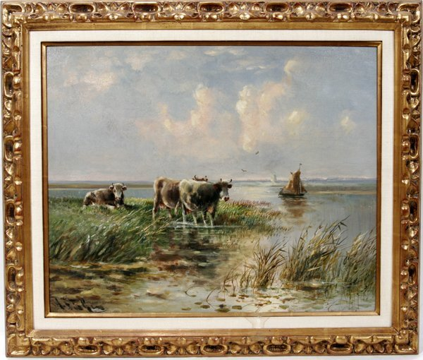 042015: HUGO ANTON FISHER OIL ON PANEL, COWS AT RIVER