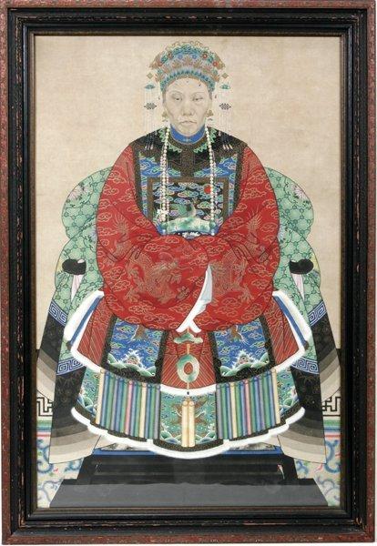 042018: JAPANESE ANCESTRAL PORTRAIT, 19TH.C.