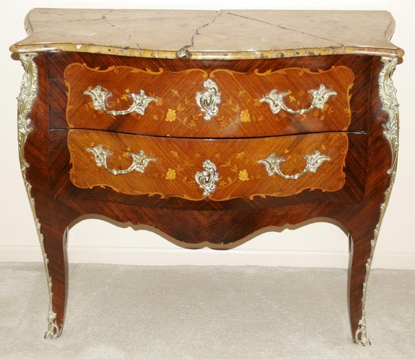 042025: FRENCH LOUIS XV MARQUETRY & MARBLE TOP COMMODE