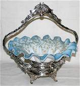 042138 VICTORIAN GLASS  SILVERPLATE BRIDES BASKET