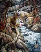 042208 SIGNED SILK JAPANESE EMBROIDERY LION FAMILY