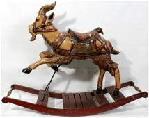 042239: WOOD 'GOAT-FORM' ROCKING HORSE, EARLY 20TH C.
