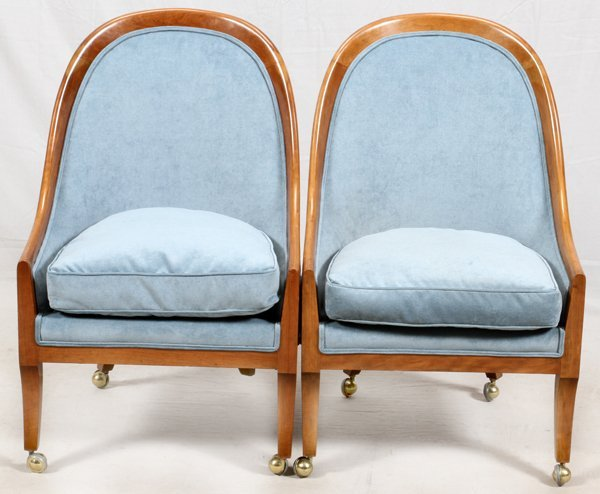 BAKER FURNITURE CO PAIR OF CHAIRS, WALNUT FRAMES
