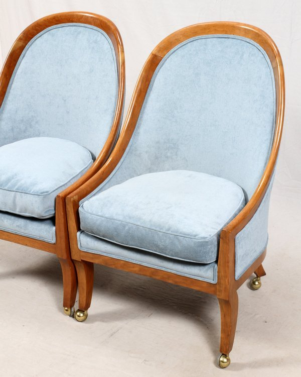 BAKER FURNITURE CO PAIR OF CHAIRS, WALNUT FRAMES - 2