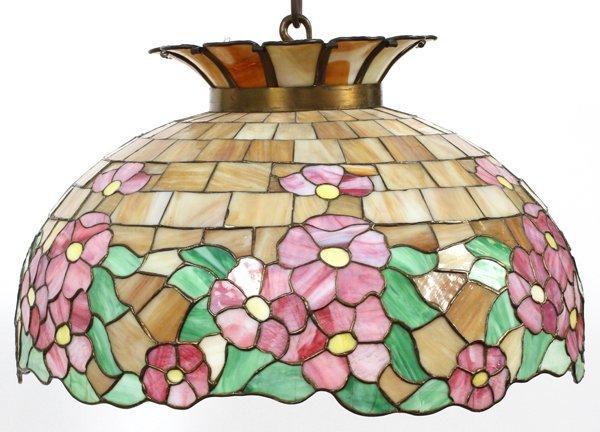 BRADLEY & HUBBARD LEADED GLASS HANGING LAMP