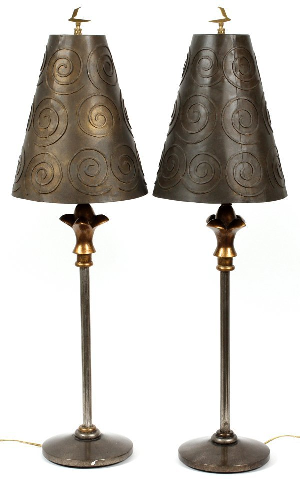 CAST AND WROUGHT METAL HALL LAMPS PAIR
