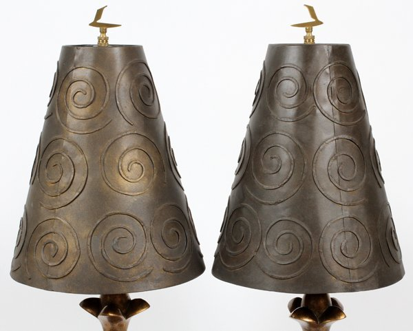 CAST AND WROUGHT METAL HALL LAMPS PAIR - 2