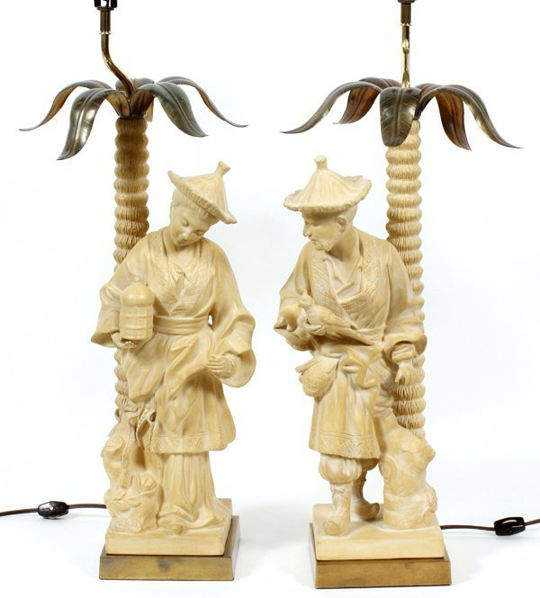 CHINESE FIGURAL LAMPS TWO PIECES