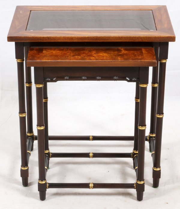 CHINESE NESTING COFFEE TABLES, TWO PIECES