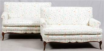 WALNUT AND UPHOLSTERED PAIR LOVESEATS