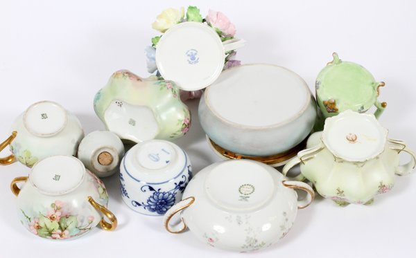 FRENCH, GERMAN & ENGLISH PORCELAIN TABLE ARTICLES - 2