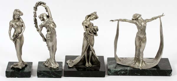 CHILMARK STUDIO PEWTER FIGURES OF WOMEN, FOUR