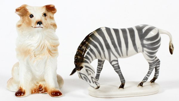 PORCELAIN FIGURES ZEBRA & SEATED DOG